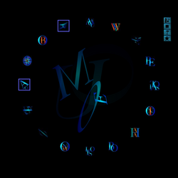 "Screen capture of ""Nio"" by Jim Andrews. Circle composed of numerous blue icons."
