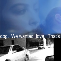 "Screen capture from ""Cruising"" by Ingrid Ankerson and Megan Sapnar. Grayscale photograph of a car on a street underneath a blue tinted picture of a woman's face. Text: ""...dog. We wanted love. That's..."""