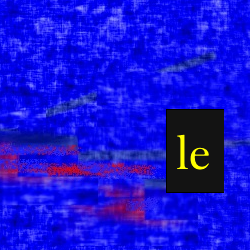 "Screen capture from ""The Set of U"" by Philippe Bootz and Marcel Frémiot. Blue background with a black rectangle with text written in it. Text: ""le"""