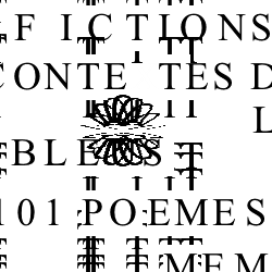 "Screen capture of ""Jean-Pierre Balpe ou les Lettres Dérangées"" by Patrick-Henri Burgaud. Moving black text on white background. Text: ""Fictions / Poemes / (etc)"""