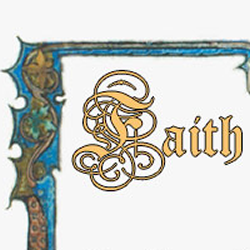 "Screen capture from ""Faith"" by Robert Kendall. Title of the poem written in elaborate calligraphy, resembling a medieval manuscript."