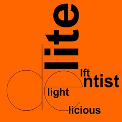 "Screen shot from ""The Dreamlife of Letters"" by Brian Kim Stefans. Orange background with black text. The letters ""de"" are placed in the middle of the screen with ends of a word around it. For example, on top of ""de"" there are the words ""lite"", putting these words together would spell ""delite"". Text (without including the letters d and e in front of them): ""lite, ntist, lft, light, licious""."