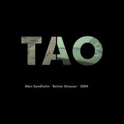 "Screen shot from ""Tao"" by Reiner Strasser and Alan Sondheim. Black background with the words ""TAO"" in the middle. Inside the letters of ""TAO"" a picture of a beach and the ocean can be viewed."