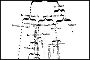 "Screen capture from ""Family Tree"" by Rosalie Hirs and Harm Van Den Dorpel. Intricate family tree constructed from punctuation, such as brackets ans ellipses. Text: ""mother, femme fatale, weeds grow, brought the spirit, mother, mother, father, butterfly of tales"""