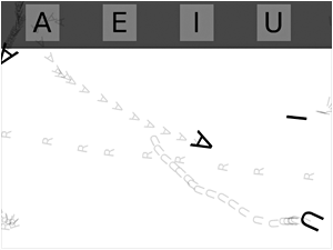 """Screen capture from """"Soundpoems"""" by Jörg Piringer. White background with the letters A, U, E, I moving around the screen leaving little gray (they're transparent) letters behind. A black bar at top gives the options to click on these letters to summon them on screen."""