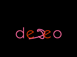 "Screen capture from ""Deseo - Desejo - Desire: 3 Erotic Anipoems"" by Ana Maria Uribe. Title of poem against black background, letters alternate between pink and red. Middle letters are mildly distorted. Text: ""deseo."""