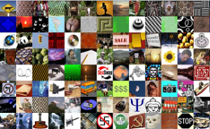 "Screen capture from ""Days of JavaMoon"" by Duc Thuan. Tiled image composed of several smaller images of signs and symbols, such as a stop sign, license plate, image of Gautama Buddha, swastika, and hammer and sickle."