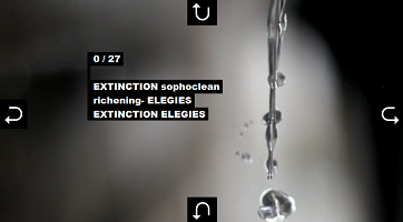 "Screen capture from ""Extinction Elegies"" by David Jhave Johnston. Still photograph of falling water droplets, with directional arrow buttons on each side and white text to the left of the droplets. Text: ""0/27/EXTINCTION sophoclean/richening-ELEGIES/EXTINCTION ELEGIES/."""