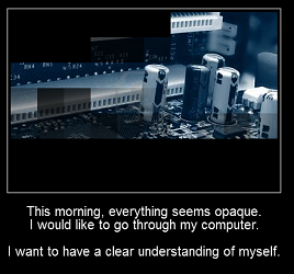 "Screen caption of ""Opacity"" by Serge Bouchardon, i-Trace Collective, and Léonard Dumas. Photograph of computer circuitry, surrounded by a black frame and accompanied by white text. Text: ""This morning, everything seems opaque/I would like to go through my computer./I want to have a clear understanding of myself."""