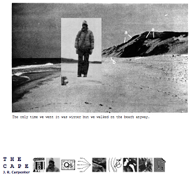 "Screen shot from ""Black and white picture of a man wearing a jacket and walking over the beach with a black mountain to his left. Separate from this picture there are ten squared pictures in miniature size. These pictures are little parts of the picture described previously."