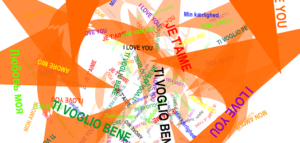 "Screen capture from ""I Love You"" by Lello Masucci. A vortex of the phrase ""I love you"" in different languages and font colors. Text: ""I love you (in Russian, Italian, French, English, etc...)"""