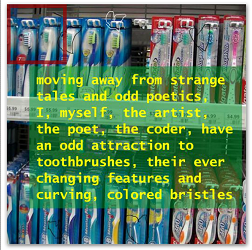 """Screen capture from """"Variegated Southlands"""" or """"Sydney's Siberia"""" by Jason Nelson. A shelf stacked with various items serve as a background while in the foreground there is a green text box with various lines of yellow text written on it. Text: """"moving far away from strange / tales and odd poetics. / I, myself, the artist, / the poet, the coder, have / an odd attraction to / toothbrushes, their ever / changing features and / curving, colored bristles"""""""