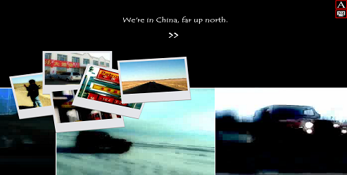 "Screen capture from ""Inanimate Alice Episode #1: China"" by Kate Pullinger and Chris Joseph. Polaroids displaying Chinese businesses, locals, roads, and landmarks over a black background. Text: ""We're in China, far up north."""