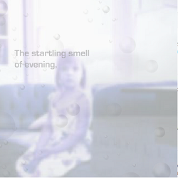 "Screen capture from ""After Persephone"" by Ingrid Ankerson. The background is a faded image of alittle girl sitting in a sofa with a grey faded text. Text: ""The startling smell / of evening""."