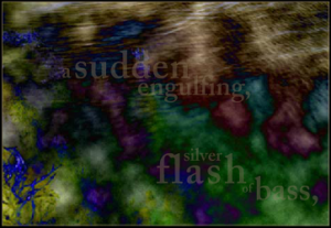"Screen capture from ""Diver,"" by Sarah Townsend and Laura McCabe. Blotches of dark color blended together with transparent words superimposed on top. Text: ""sudden/engulfing/silver/flash/bass"""