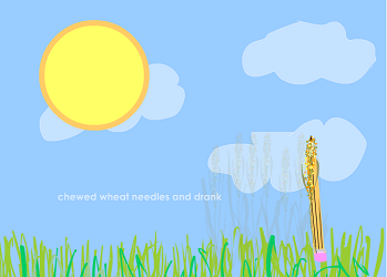 "Screen capture from ""Today is Lemonade"" by Ingrid Ankerson/ Sky blue background with three lighter blue clouds, a round yellow sun placed on the upper left part and a few blades of green grass at the bottom and a pencil standing upright to the bottom left part of the image. Text: The text is too small to read."