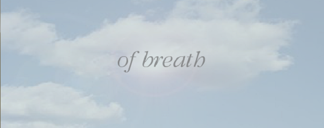 """Screen capture of """"Meditation on a Bar Stool"""" by Natalie Zeriff. Light clouds on a sunny day. Text: """"of breath"""""""