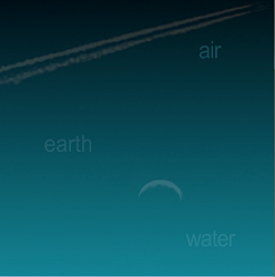 "Screen capture of ""Murmuring Insects,"" by Otagaki Rengetsu and Ingrid Ankerson. Background goes from black to a dark turquoise. It has the words ""air,"" ""earth,"" and ""water"" on it with trails of contrail and the Moon."