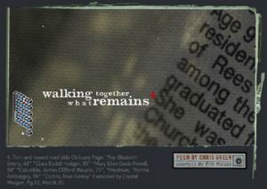 "Screen capture from ""Walking Together What Remains,"" by Chris Green and Erik Natzke. Grey background with various lines of text written on it. Text: ""walking together / what remains"" The rest of the text is too small to read."