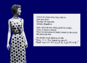 "Screen capture from ""I Cried Of Course"" by William Minor, Elise Rotchford, and Steve Minor. A black-and-white cutout of a old-timey photograph depicting a woman with bobbed hair and a long, polka-dotted dress; the poem is displayed on a note to the side, and its last two lines are written in hand; dark blue barckground. Text: ""I cried of course when they told me / you were dead. / Frankly I'd forgotten / already, Brigadoon / (you called me that when, good for a night, a day, I failed to return) / Your nineteen-year-old body bruised to the touch. / Not dramatic this: / the simple erratic division of cells. / (In handwriting) 'Now it is the hand of death / That grants the gift of life itself'.'"""