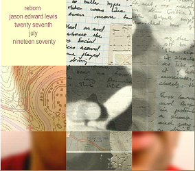 "Screen capture of ""Nine: Puzzling through Several Lives"" by Jason Edward Lewis. Collage of images that include the lower left corner of a face, writings on a paper, etc."