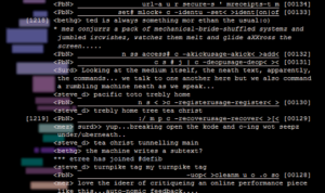 "Screen capture of ""Mechanical Bride"" by Ted Warnell. Lines of code over black background. Text: ""(too small to read)"""