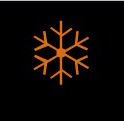 Black background with an orange snowflake in the middle.
