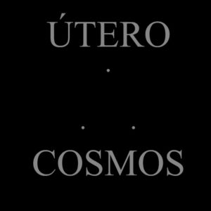 "Screen capture from ""Útero portanto Cosmos"" (Uterus therefore Cosmos) by Agnus Valente and Nardo Germano. Black background with three grey dots in the middle and two lines of grey text, one at the bottom, the other at the top. Text:""Utero"" ""Cosmos"""