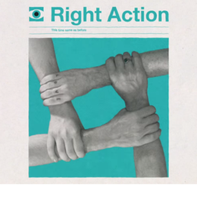 "Screen capture from ""Right Action"" by Franz Ferdinand. Cyan background with four grey arms holding each other to form a square. Text: ""Right Action"""