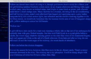 "Screen capture from""Twelve Blue"" by Michael Joyce. Blue background with light blue text written on it. Text: Due to the color scheme, it is both too hard too read and too small to read."