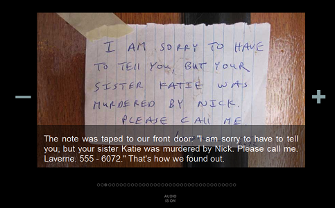 """Screen capture from """"In a World Without Electricity"""" by Alan Bigelow. A handwritten note taped to a door. Text: """"The note was taped to our front door: 'I am sorry to have to tell / you, but your sister Katie was murdered by Nick. Please call me. / Laverne. 555 - 6072.' That's how we found out."""""""