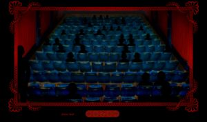 """Screen capture from""""10:01"""" by Lance Olsen and Tim Guthrie. Black background with a picture frame that has the image of a theather with the audience getting to their seats and others sitting down. The audience are silhouttes in complete black colors."""