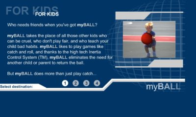 """Screen capture of """"myBALL"""" by Shawn Rider. Blue background with white text and a picture of a boy holding a red ball on the right side of the shot."""