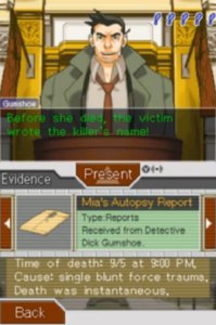 """Open """"Turnabout Beginnings"""", a case in Ace Attorney: Trials and Tribulations."""